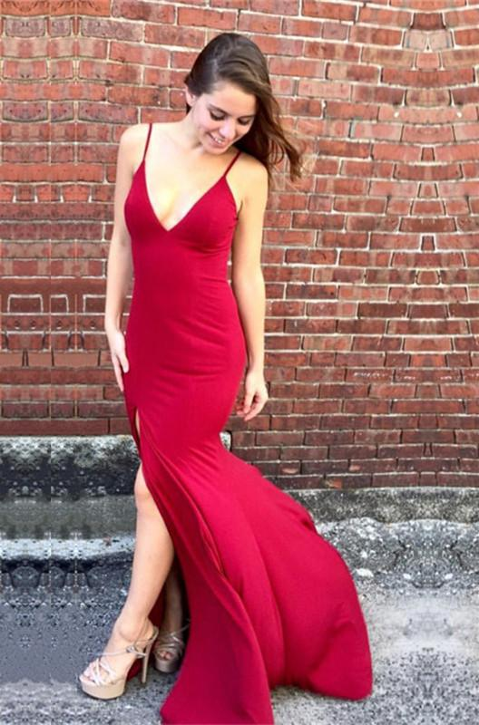 Sexy Deep V-neck Open Back Long Jersey Mermaid Evening Dresses 2018