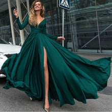 Load image into Gallery viewer, Emerald-Green-Evening-Gowns-2019-Prom-Dresses-Long-Sleeves