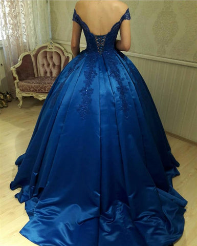 Image of royal-blue-satin-gowns