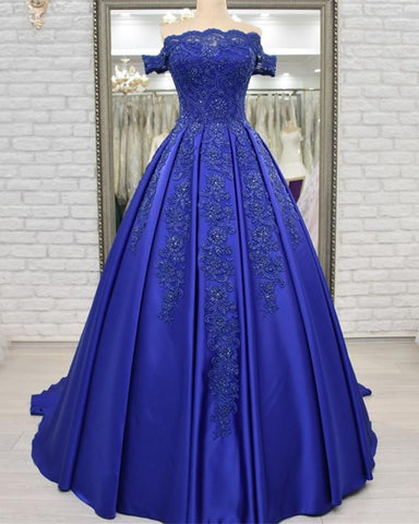 Image of Off Shoulder Long Satin Evening Dresses Lace Embroidery