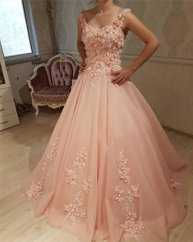Image of Peach-Quinceanera-Dress
