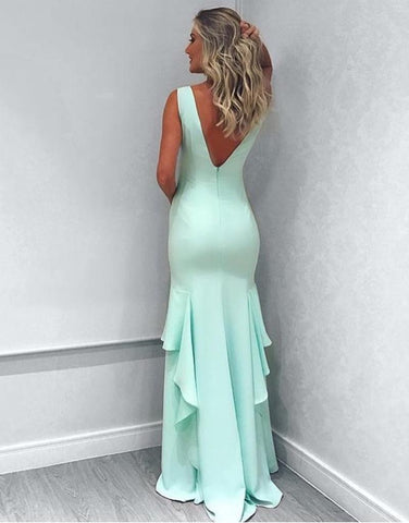 Image of Sexy V Neck Long Mermaid Evening Dresses 2018 Leg Slit Prom Gowns