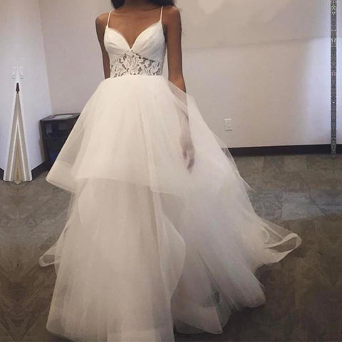 Image of A Line V Neck Ruffles Tulle Princess Wedding Dresses Lace Appliques