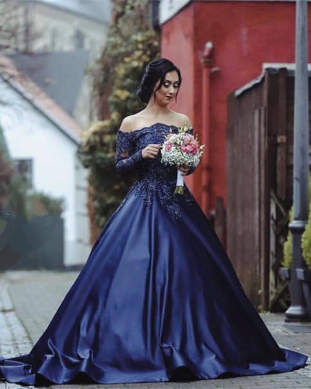 Lace Beaded Long Sleeves Ball Gowns Off Shoulder Wedding Dresses