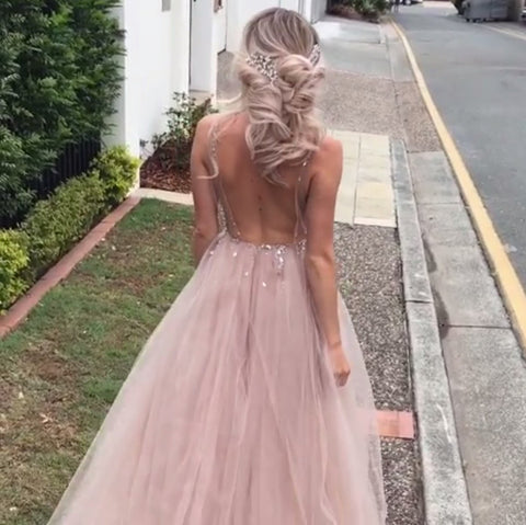 Image of Luxurious Beaded V Neck Tulle Open Back Wedding Dresses For Engagement Party