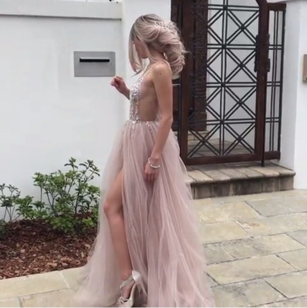 Luxurious Beaded V Neck Tulle Open Back Wedding Dresses For Engagement Party