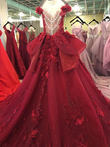Image of Burgundy Lace Ball Gowns Wedding Dresses With Nude Back
