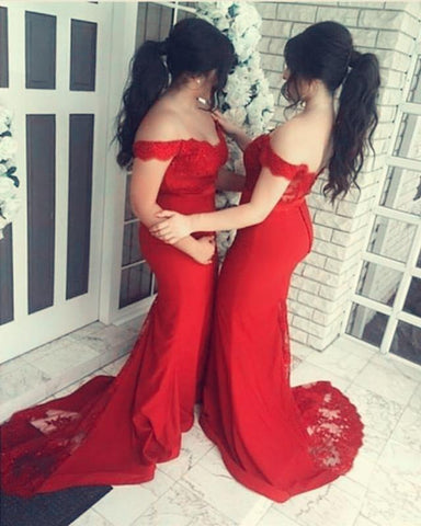 Image of Long-Red-Bridesmaid-Dresses