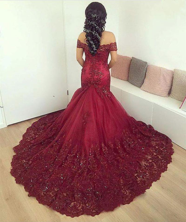 Burgundy Lace off-the-shoulder Evening Dresses Mermaid Prom Gowns