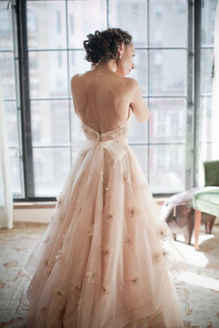 Image of Elegant Lace Sweetheart Tulle A-line Backless Wedding Dresses 2018