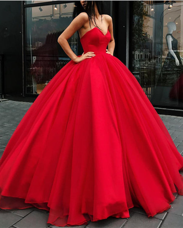 Red Wedding Dress Ball Gown Tulle Floor Length