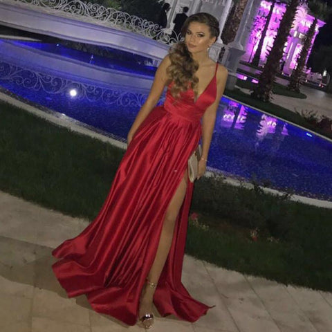 Image of Red Satin Long V-neck Open Back Bridesmaid Dress Leg Split Evening Gowns
