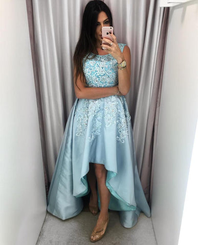 Image of Amazing Lace Cap Sleeves Satin Prom Dresses Front Short Long In The Back