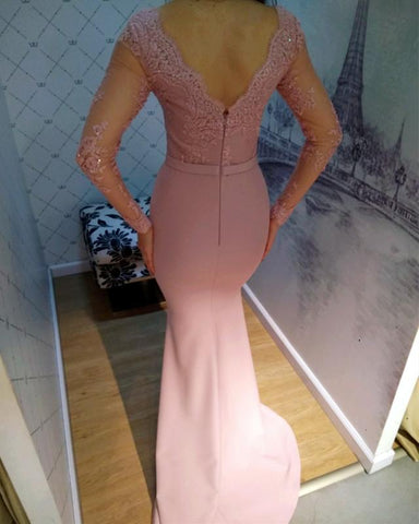 Image of Sexy-Open-Back-Evening-Gowns-Mermaid-Prom-Dresses-Long-Sleeves-Lace-Applique