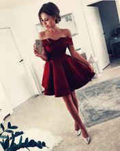 Cargar imagen en el visor de la galería, V-neck Off Shoulder Ruffle Satin Homecoming Dresses Short Cocktail Dress