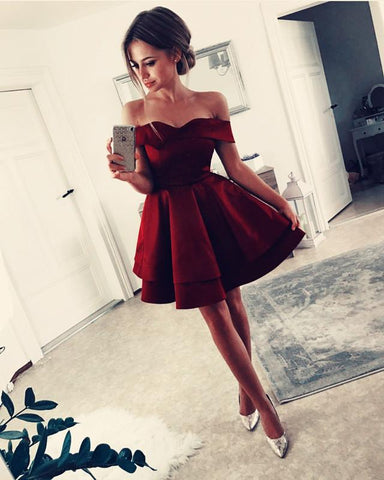 V-neck Off Shoulder Ruffle Satin Homecoming Dresses Short Cocktail Dress
