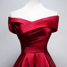Load image into Gallery viewer, Short A-line Off The Shoulder Satin Bridesmaid Dresses