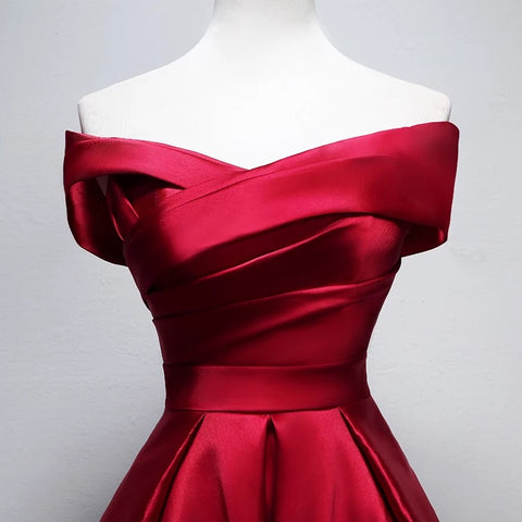 Image of Elegant Off Shoulder Satin Knee Length Bridesmaid Dresses