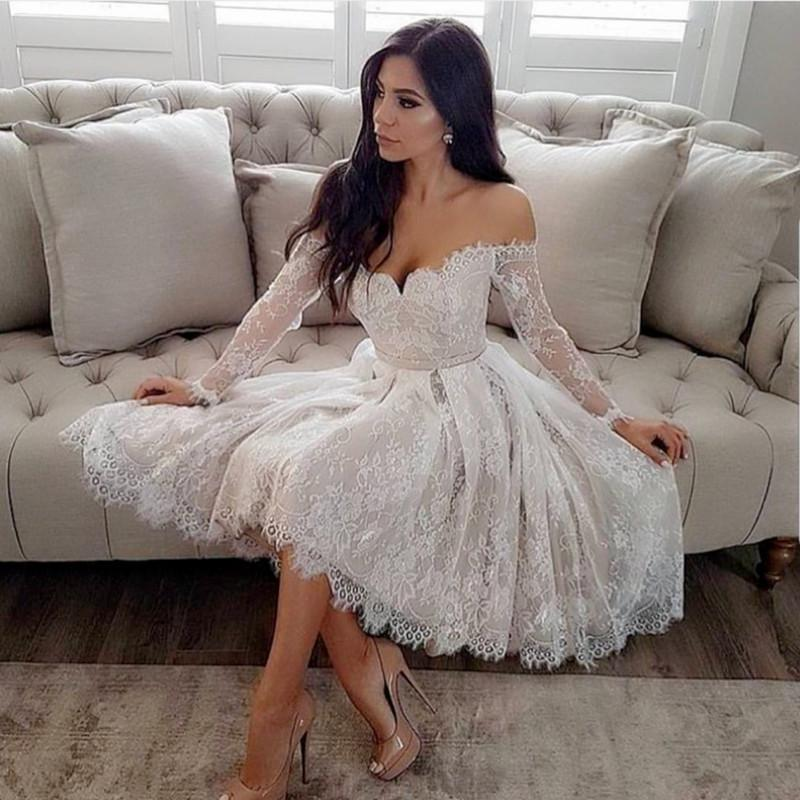 White Lace Long Sleeves V-Neck Homecoming Dresses Off The Shoulder
