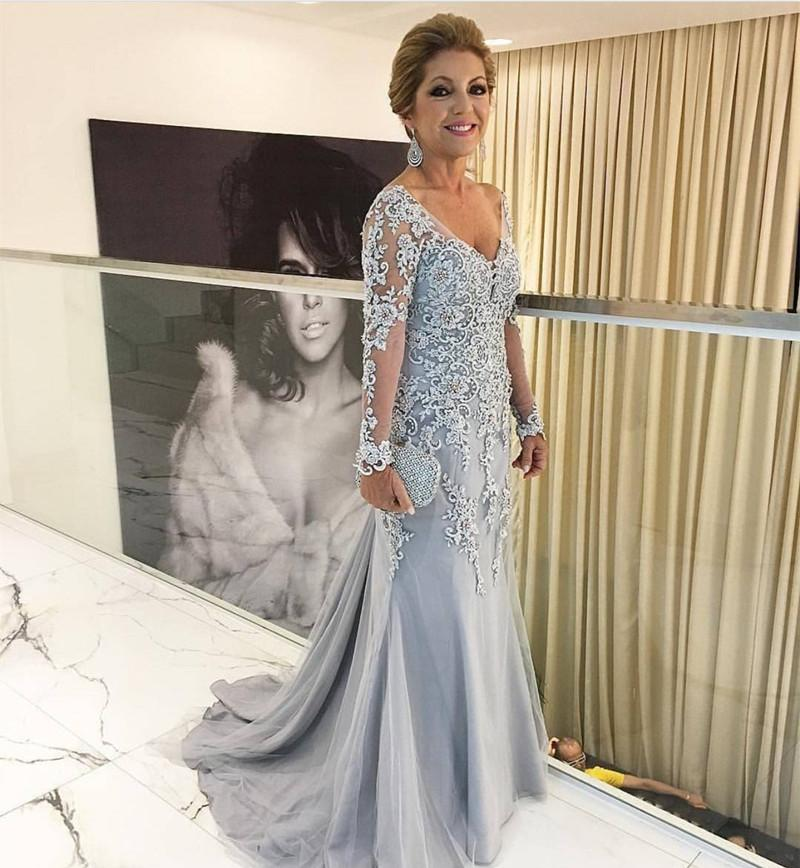 Silver Lace Appliques Long Sleeves Mermaid Evening Dresses For Mother Of The Bride