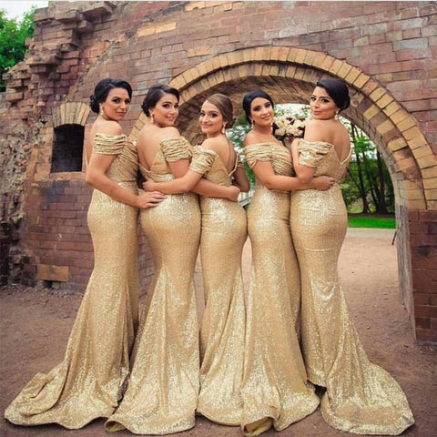 Image of Off The Shoulder Sequin Bridesmaid Dresses Long Mermaid Formal Gowns