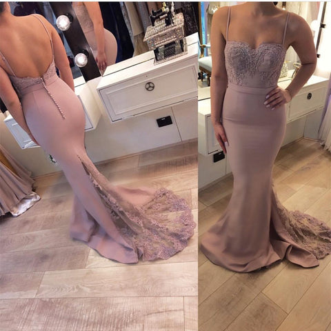 Image of Sweetheart-Bridesmaid-Dresses-Pale-Pink-Evening-Formal-Gown