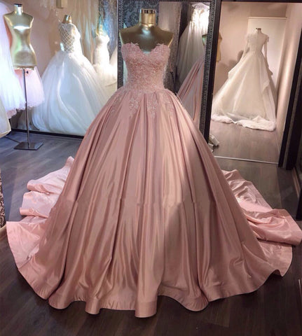 Image of Pink Wedding Dresses Taffeta Ball Gowns Lace Appliques Sweetheart