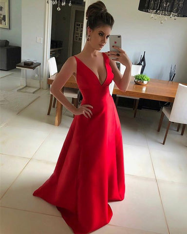 Image of Long-Red-Prom-Dresses-Women's-Formal-Gowns
