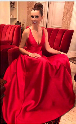 Image of Long-Formal-Evening-Dresses-Red-Bridesmaid-Gowns