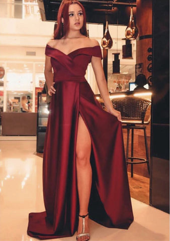 Image of Long Dark Red Evening Dresses 2019 Prom Satin Gowns Leg Split