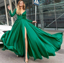 Load image into Gallery viewer, Long Sleeves Prom Dresses Chiffon Split Evening Gown