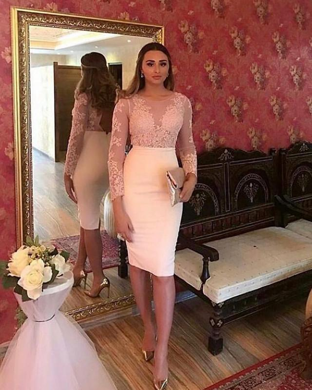 Long Sleeves Lace Appliques Sheath Homecoming Party Dresses For Women
