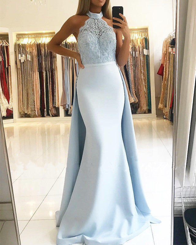 Elegant Lace Halter Mermaid Prom Dresses Detachable Skirt
