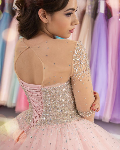 Image of Sheer Long Sleeves Crystal Beaded Bodice Tulle Ball Gowns Quinceanera Dresses
