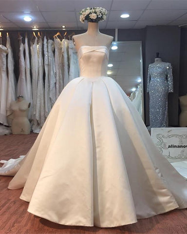 Image of Wedding-Dresses-Satin-Ballgowns-Bride-Dress-2018