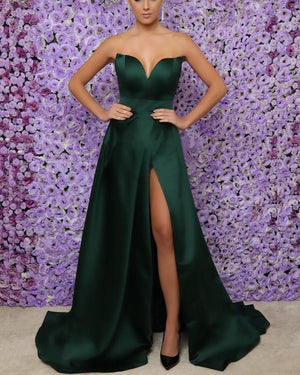 Long-Dark-Green-Prom-Dresses-Split-Evening-Gowns