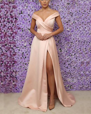 Image of Light-Pink-Evening-Dresses-Long-Split-Prom-Gowns-Sexy