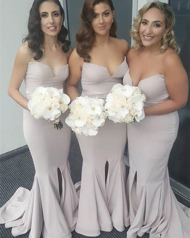 Image of Strapless-Mermaid-Bridesmaid-Dresses-Long-Split-Evening-Gowns