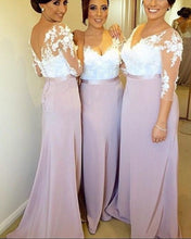 Afbeelding in Gallery-weergave laden, Lilac-Bridesmaid-Dresses-Long-Formal-Sheath-Dress-For-Evening