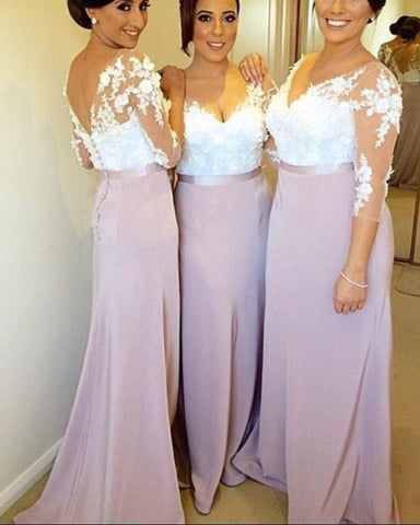 Image of Lilac-Bridesmaid-Dresses-Long-Formal-Sheath-Dress-For-Evening