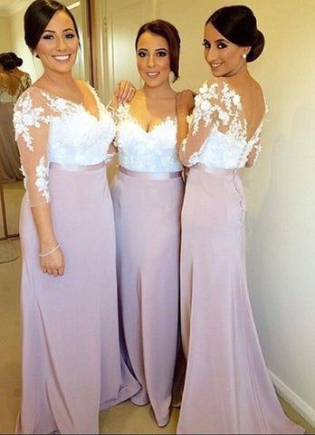 Image of modest-lace-sleeves-bridesmaid-dresses-plus-size-formal-gowns