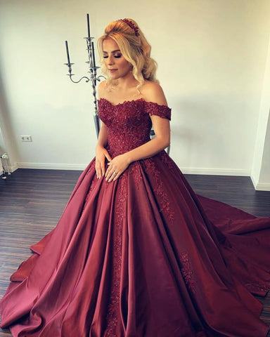 Image of Lace Appliques Sweetheart Ball Gowns Wedding Dress Satin Off Shoulder