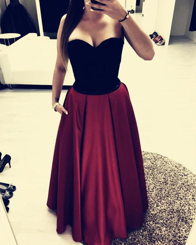 Image of Black Sweetheart Beaded Sashes Floor Length Satin Evening Dresses