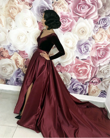 Image of Velvet Long Sleeves Satin Prom Dresses Leg Slit Evening Gowns