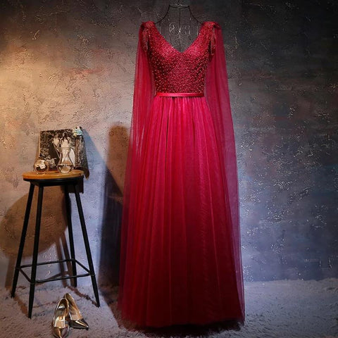 Image of Love Pearl Beaded V Neck Long Burgundy Evening Dresses