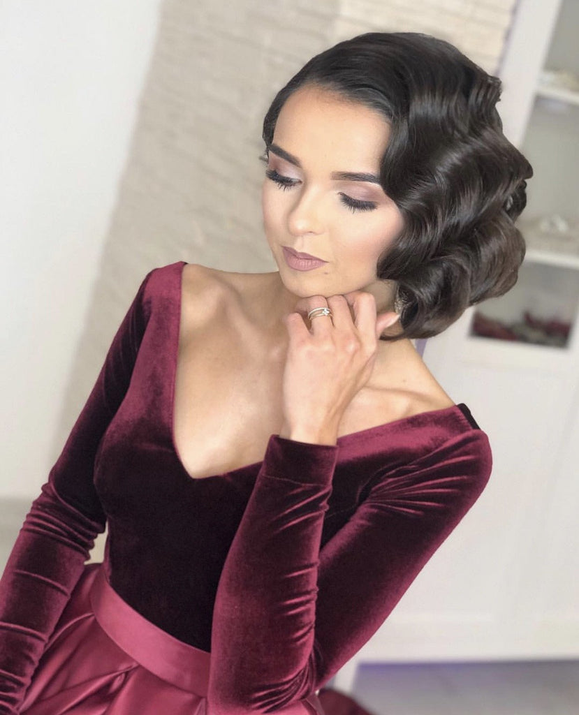 Velvet Long Sleeves Satin Prom Dresses Leg Slit Evening Gowns