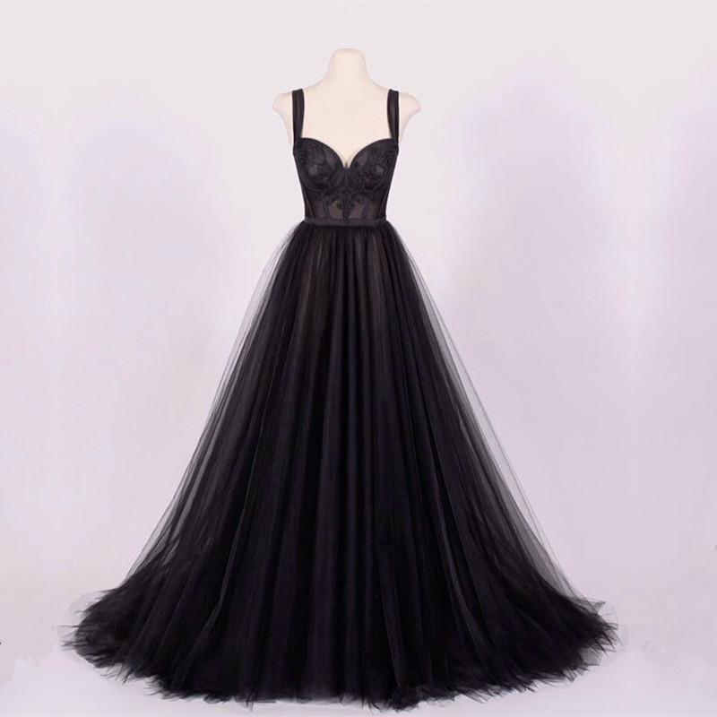 A-line Black Tulle Sweetheart Prom Dresses Lace Appliques-evening dresses-alinanova-black-2-coloredwedding