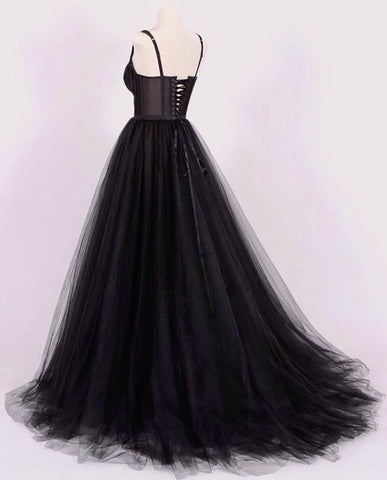 Image of A-line Black Tulle Sweetheart Prom Dresses Lace Appliques