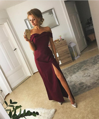 Image of Sexy Off The Shoulder Long Satin Prom Dresses 2018 Slit Evening Gowns