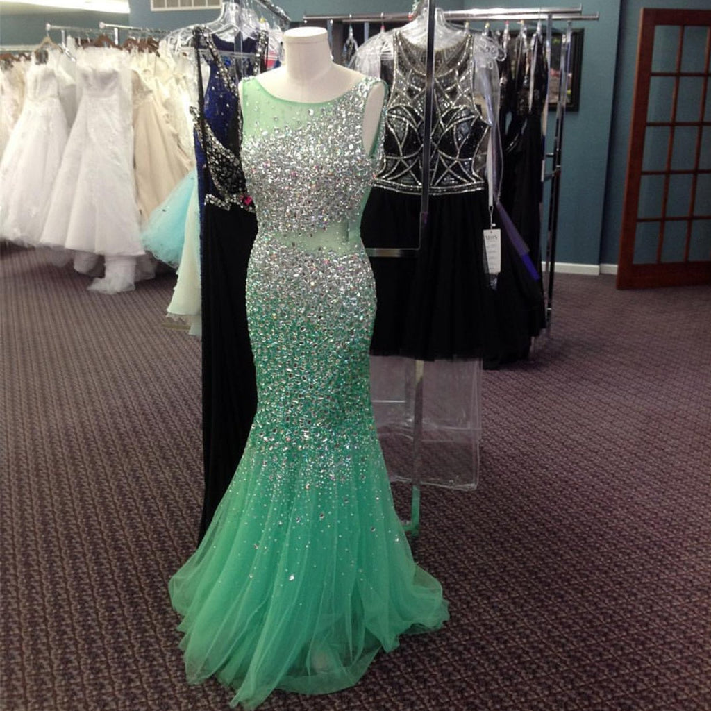 Mint Green Ice Blue Mermaid Evening Dresses Crystal Beaded Prom Gowns